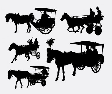 Carriage traditional transportation with horse silhouettes