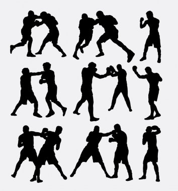 Boxing fighting duel silhouettes