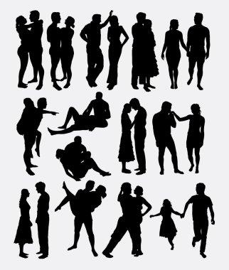 Romantic love couple male and female silhouette
