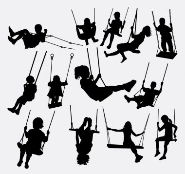 Swing people male and female silhouette