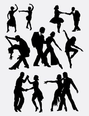 Tango salsa 2 male and female dancer silhouette