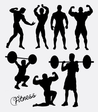 Body building, fitnes, gym sport training silhouette