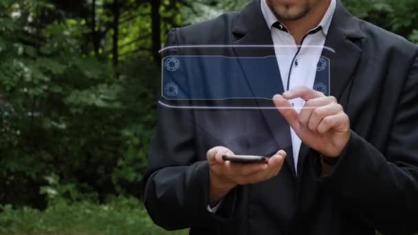 Geschäftsmann verwendet Hologramm mit Text-VPN