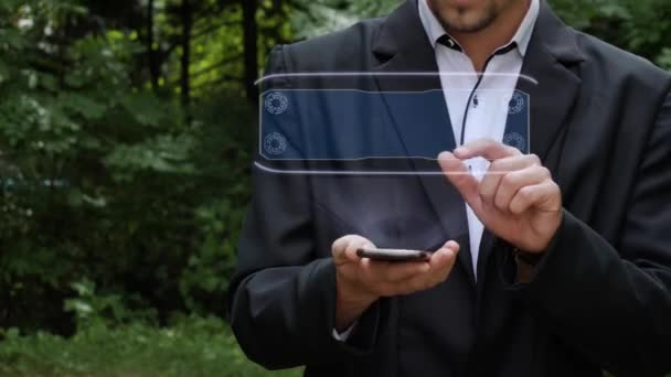 Podnikatel používá hologram s textem Digital Press