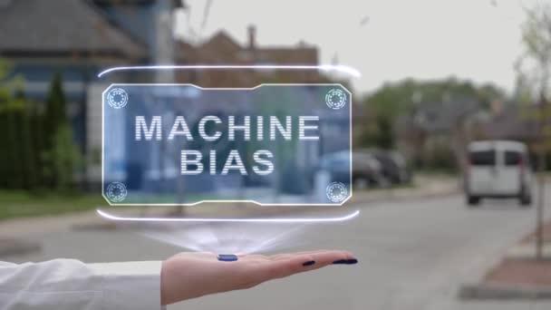Női kéz bemutató hologram gép elfogultság