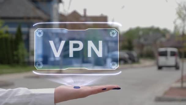 Weibliche Hand zeigt Hologramm VPN