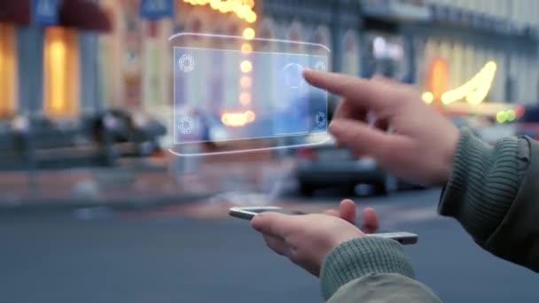Weibliche Hände interagieren mit HUD Hologramm VPN