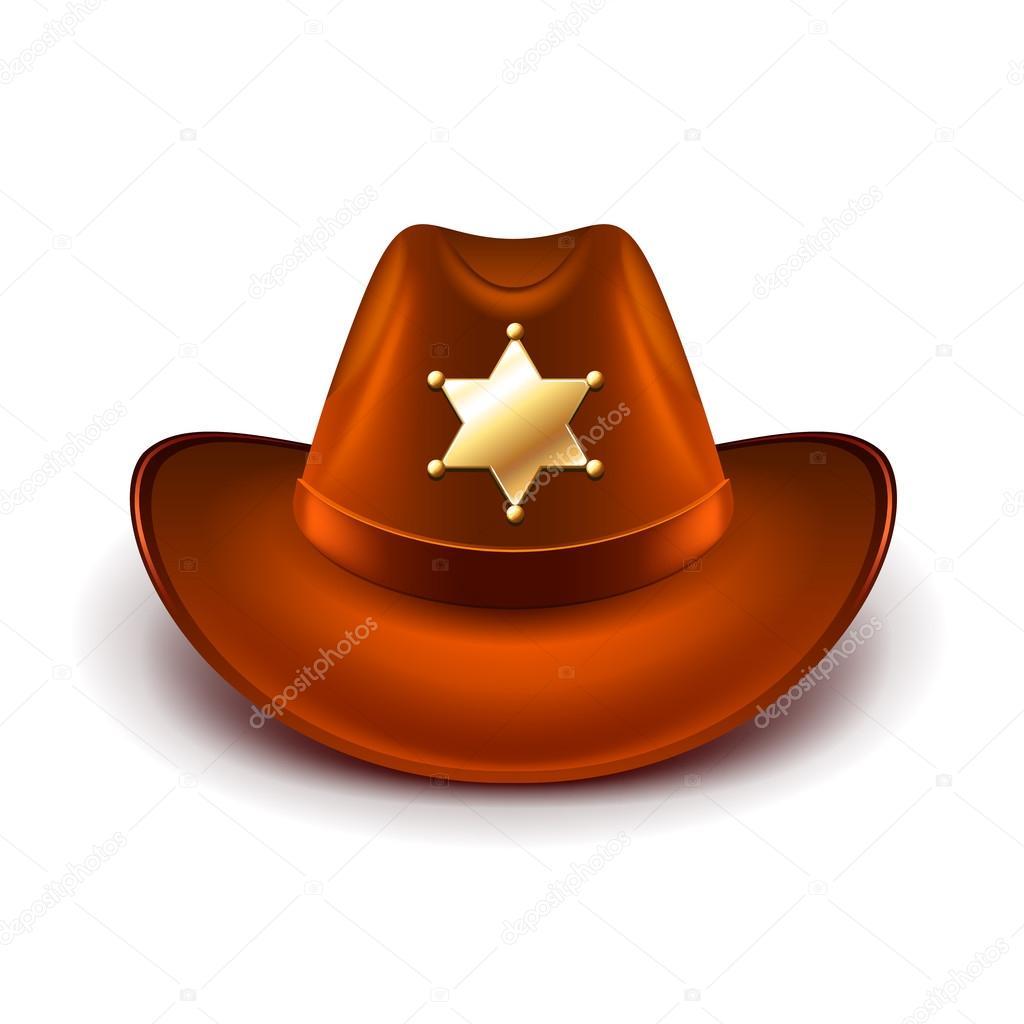 Kovbojský klobouk s šerifem odznak izolované vektor — Stock Vektor ... bea2053963