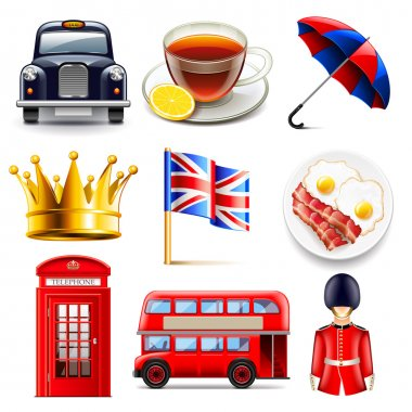 England icons vector set