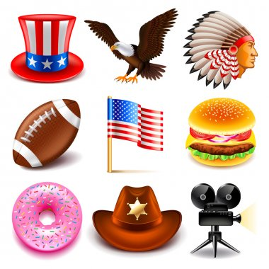 USA icons vector set