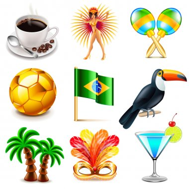 Brazil icons vector set
