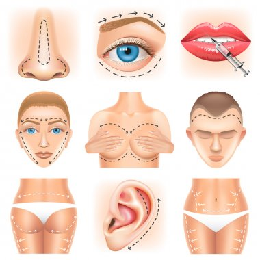 Plastic surgery icons vector set