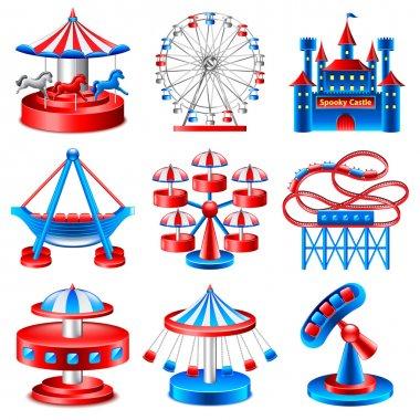 Amusement park icons vector set