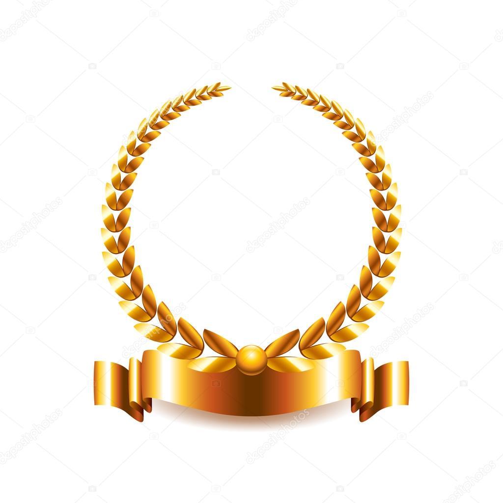 Zlatý vavřínový věnec izolovaných na bílém vektor — Stock Vektor ... 478b01f54f