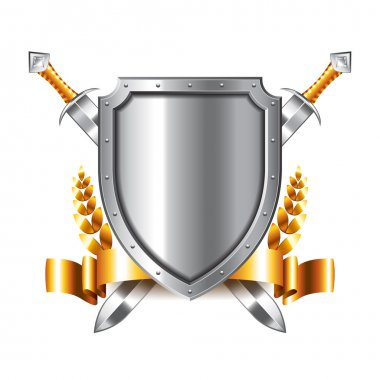 Coat of arms with swords isolated on white photo-realistic vector illustration stock vector