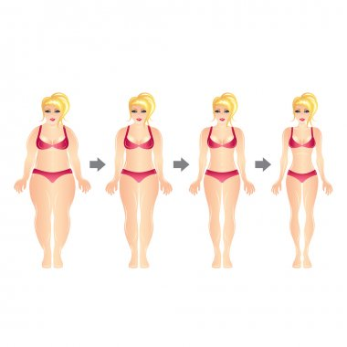 Weight loss woman vector illustration