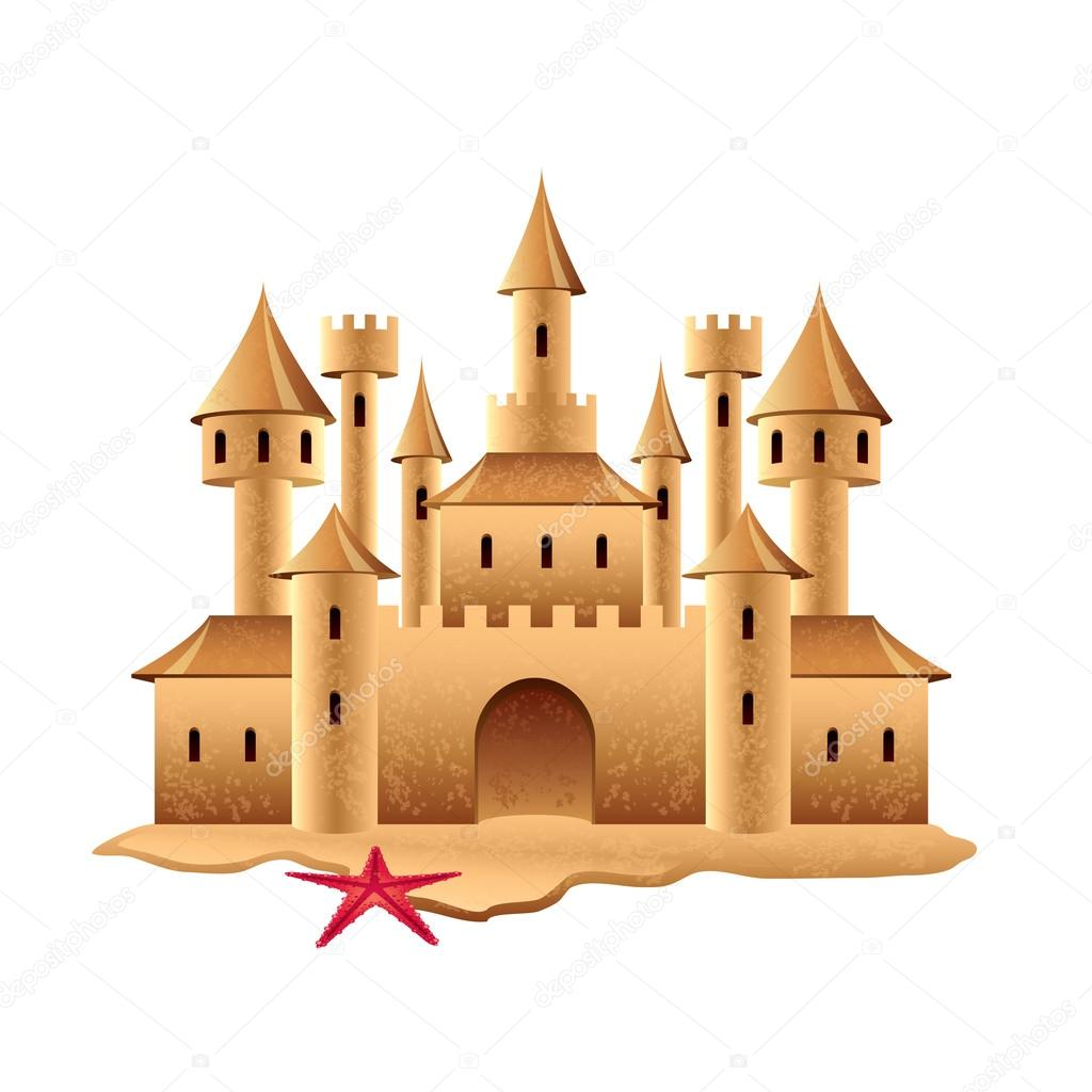 Sand castle isolated on white vector