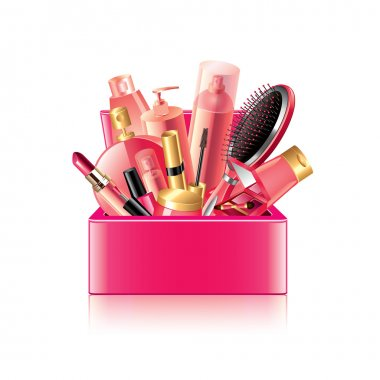 Cosmetics box isolated on white vector