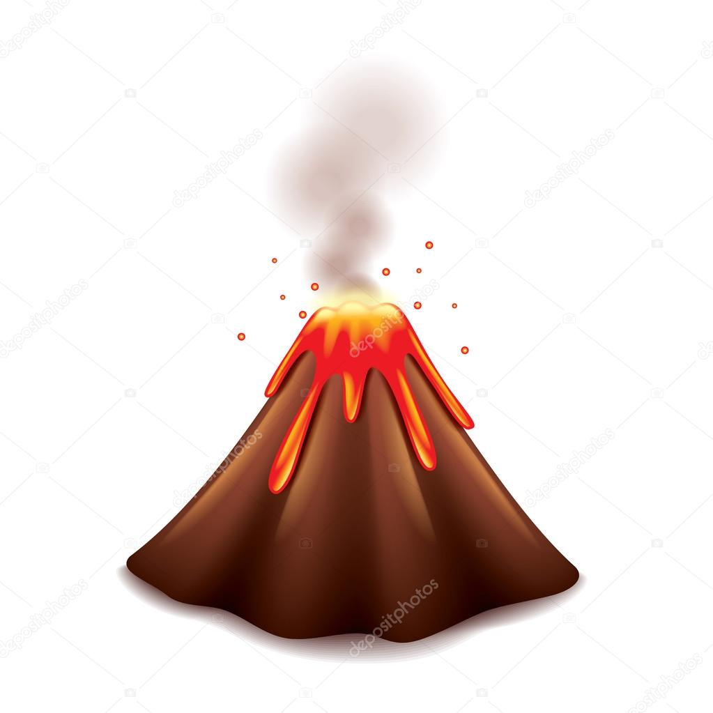 Volcano isolated on white vector