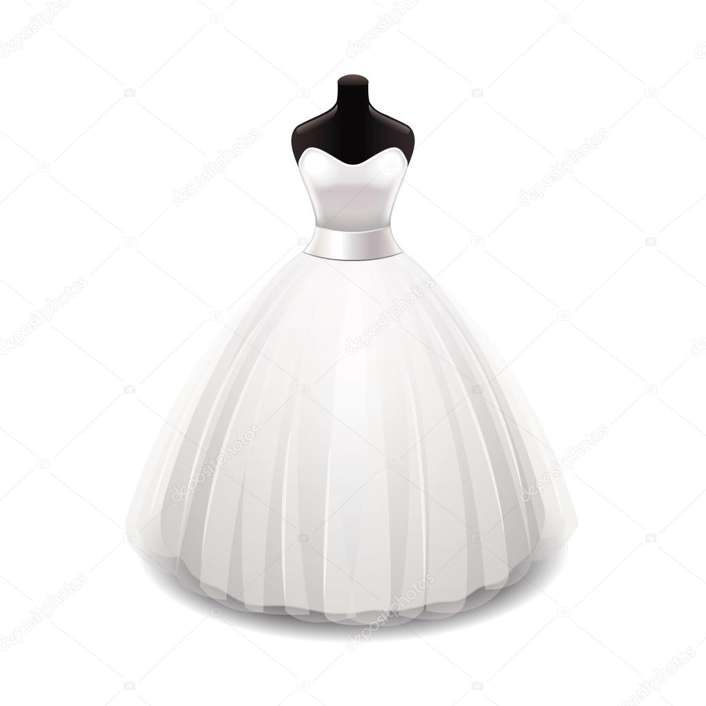 Wedding dress isolated on white vector