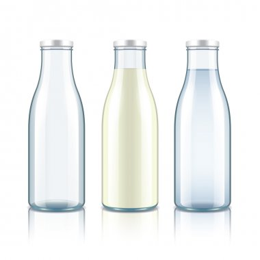 Glass bottle with milk, water and empty