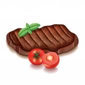 Fényképek Grillezett húsokat és elszigetelt fehér vektor