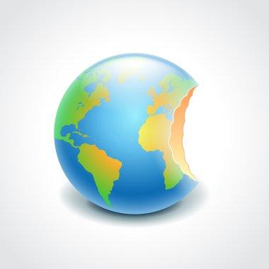 Bitten globe, environment concept vector