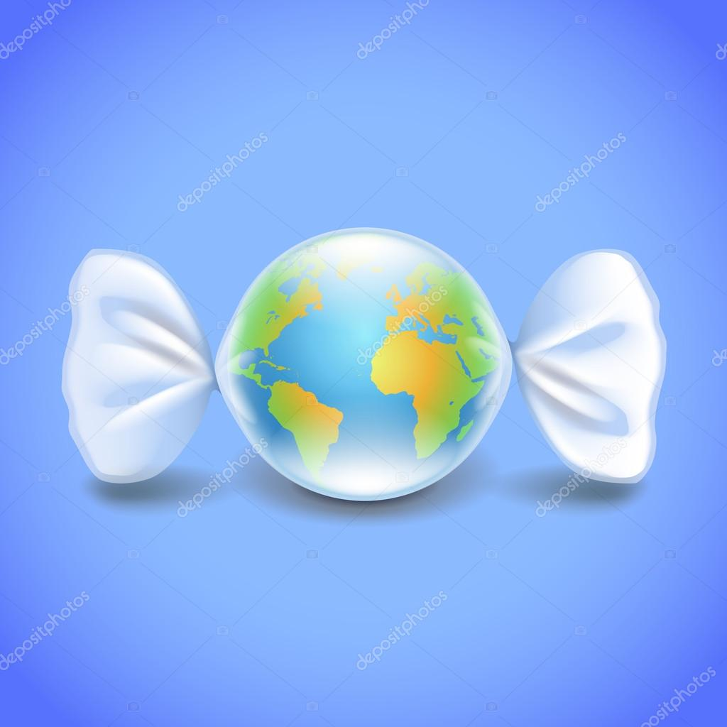 Globe like candy, environment concept vector