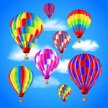 Hot air balloons in the sky photo realistic vector background clip art vector