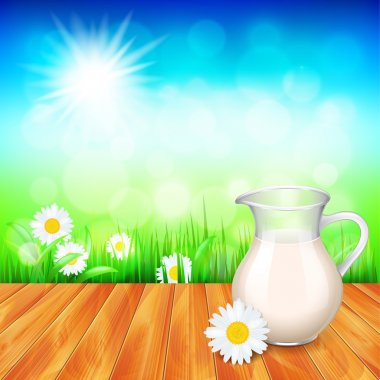 Milk jug on wooden table, nature background