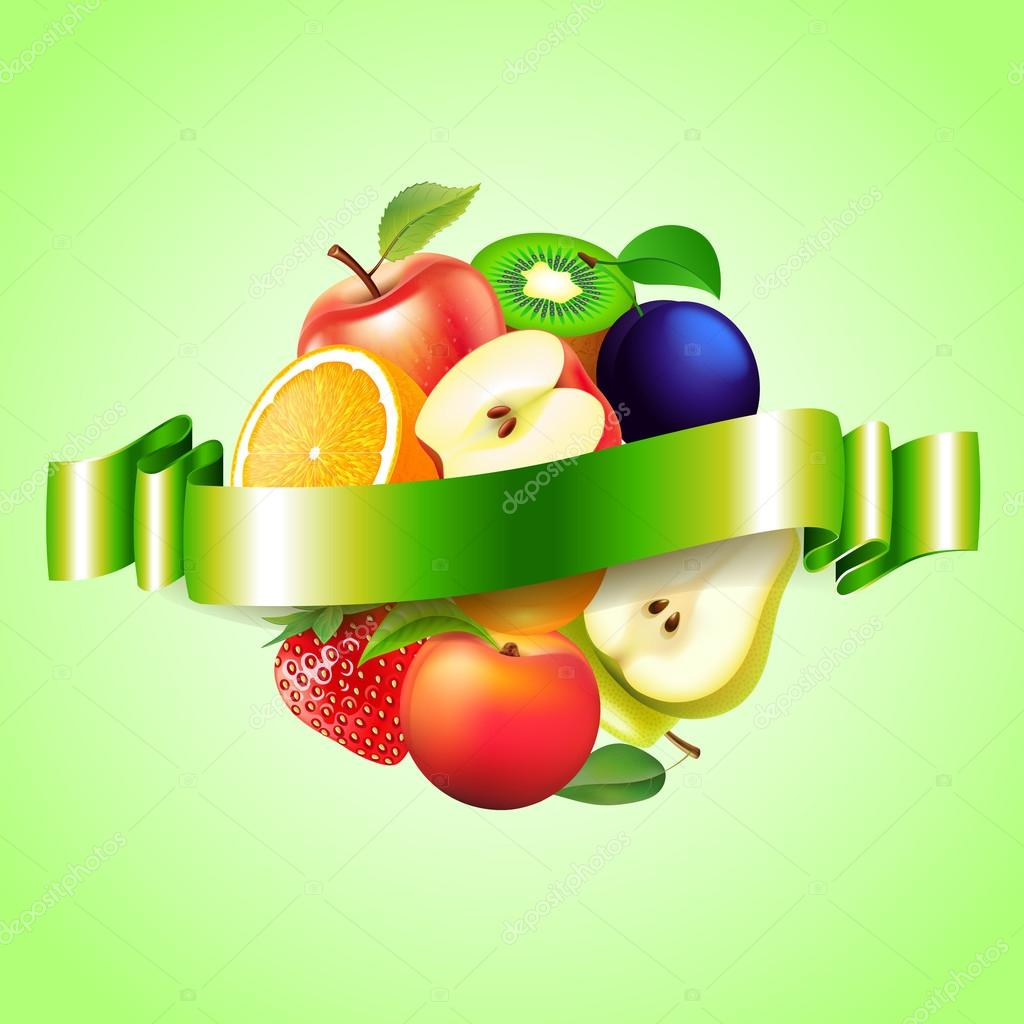 Fruits sphere with label vector background