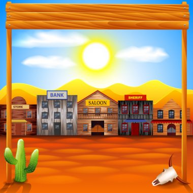 Wild west town panorama vector background