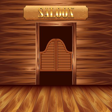 Swinging doors of saloon, western background