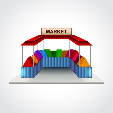 Market building isolated vector illustration