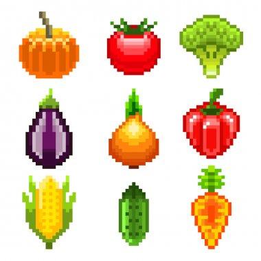 Pixel vegetables for games icons vector set