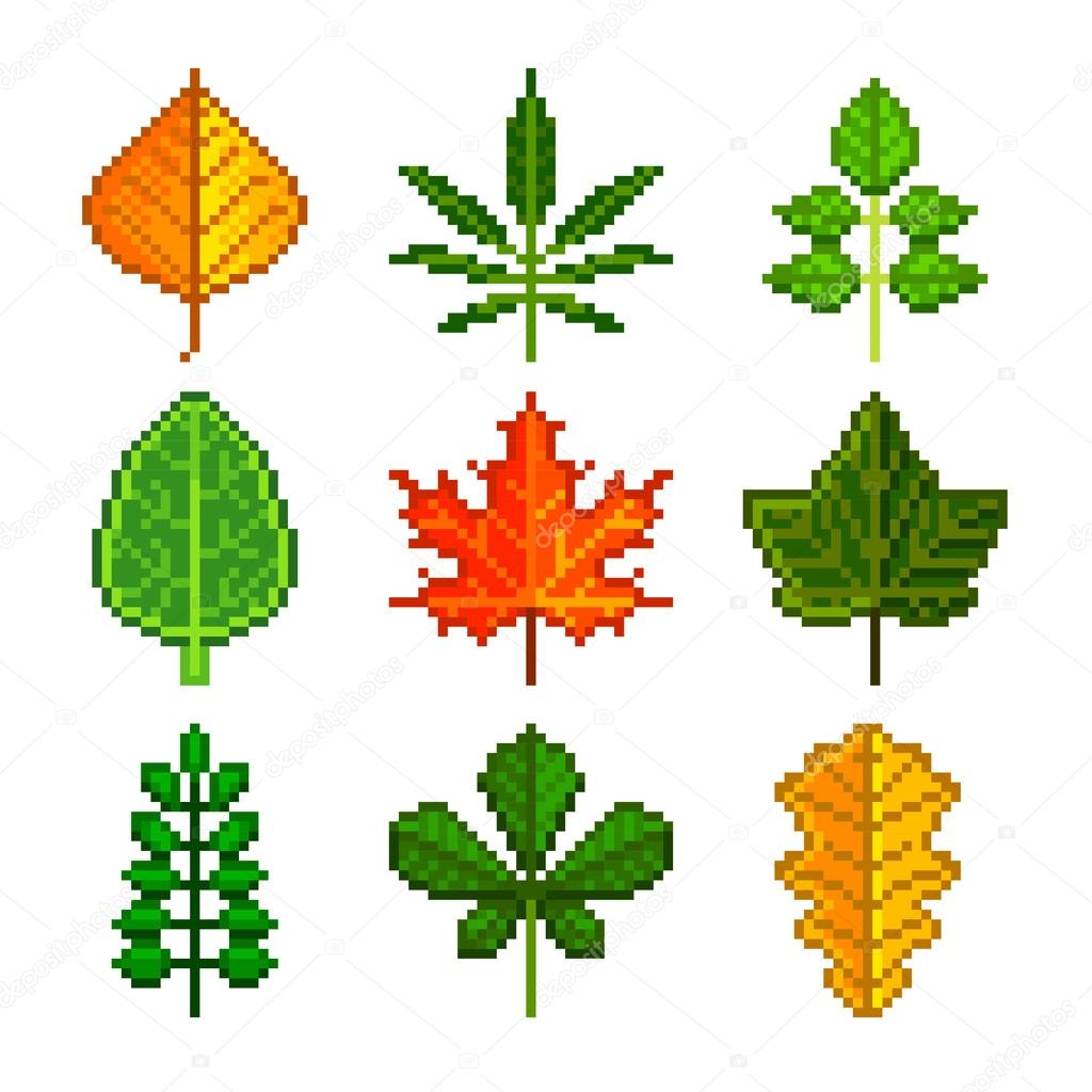 Pixel leaves for games icons vector set