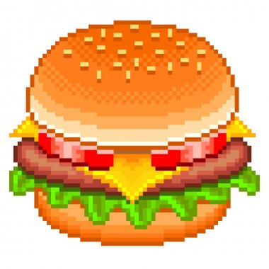 Pixel hamburger isolated vector