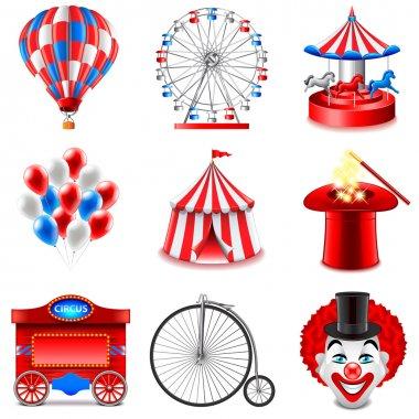 Circus icons vector set