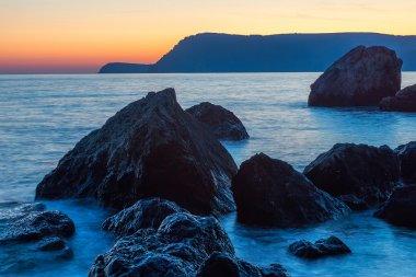 Beautiful calm sunset, on the Black Sea