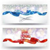 Große Eröffnungskarten mit rot und blau funkelnden Bändern und Scheren. Vektorillustration