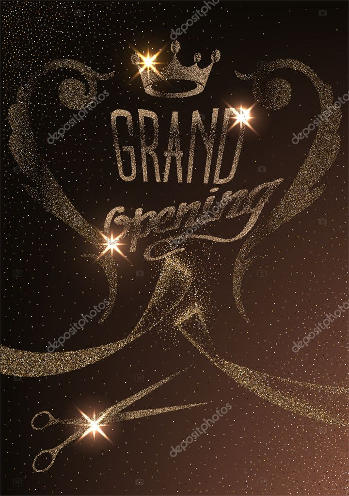 Grand Opening Invitation Card With Gold Abstract Sparkling