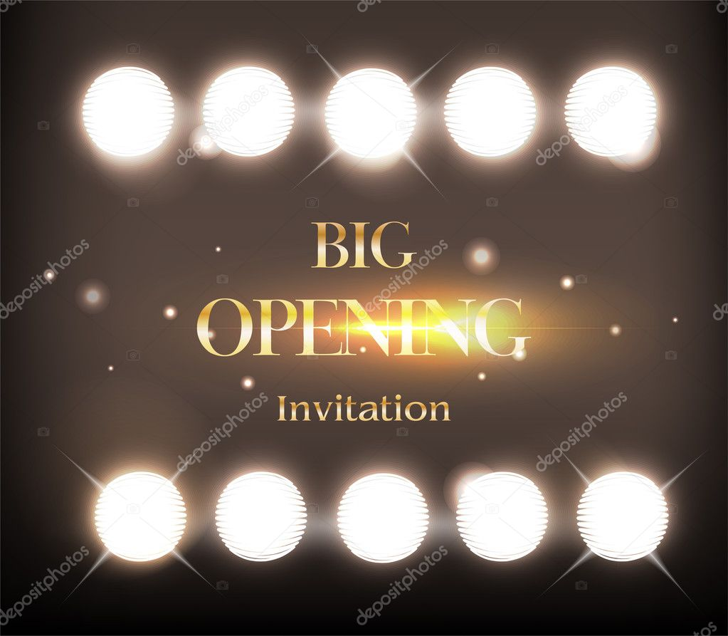 Grand Opening Invitation Card Party Background Gold Shine