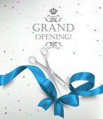 Große Eröffnungskarte mit realistischem blauen Seidenband, Schere und buntem Konfetti. Vektorillustration