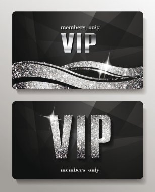 Silver VIP cards with shiny letters and elements