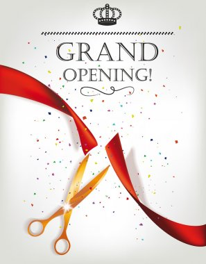 Grand opening invitation card with scissors and red ribbon