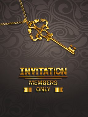 VIP invitation elegant card with key and floral design