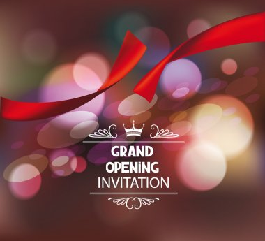 Grand opening invitation card with spotlights, red silk ribbon and scissors