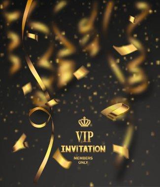 Vip invitation card with gold confetti clip art vector