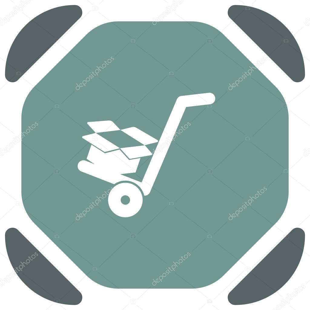 Manual cart with cardboard box icon — Stock Vector © quka
