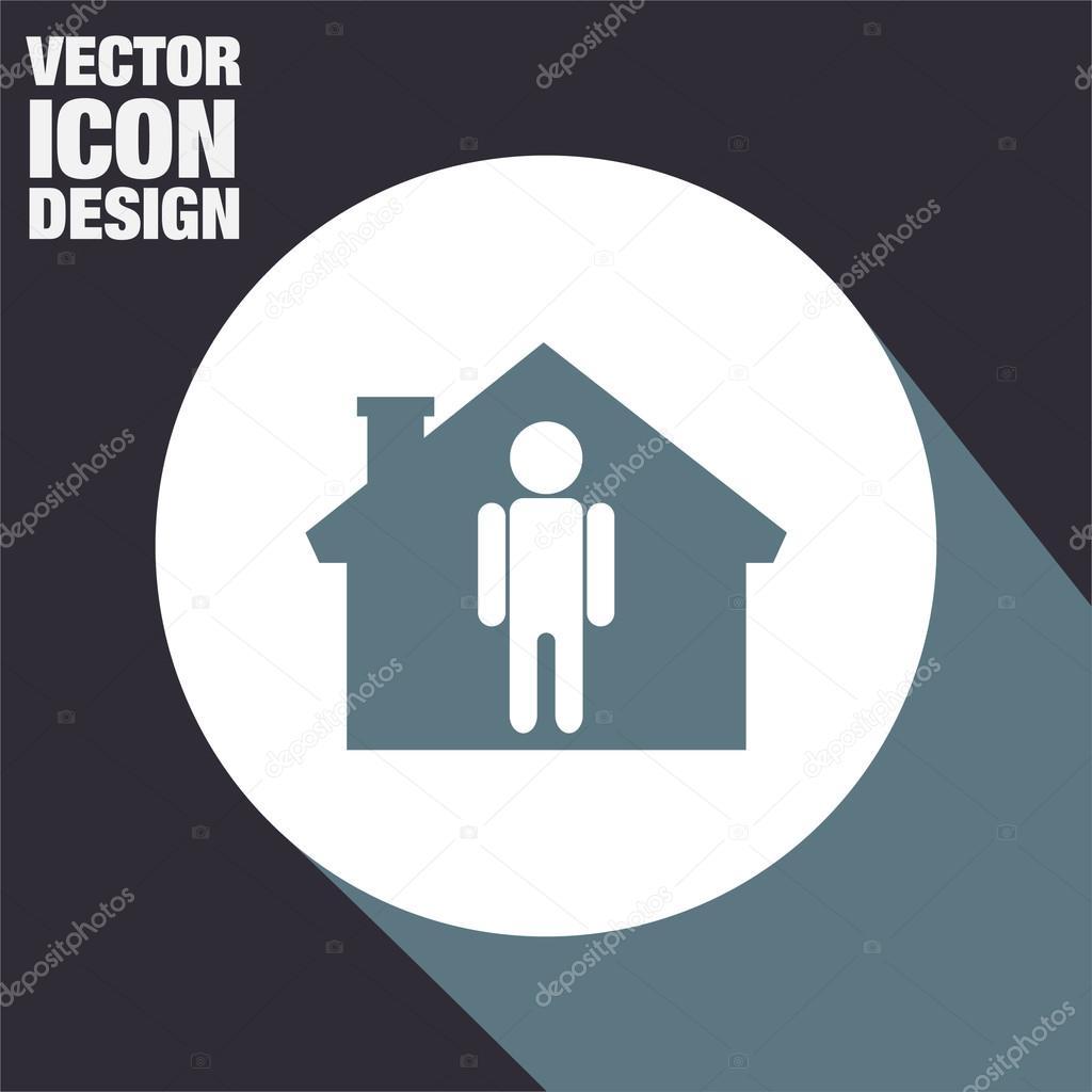 Mann zu Hause Symbol — Stockvektor © quka #122044828